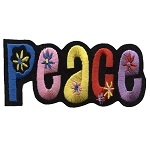 P005c - Peace Rainbow Flower Iron on Embroidery Patch