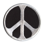 P007 - White on Black Peace Symbol Embroidered Patch