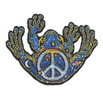 P089 Peace Frog Day and Night Peace Symbol Sun Moon Space Patch