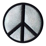 P108 - Black on Silver Peace Embroidered Patch