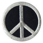 P109 - Silver on Black Peace Embroidered Patch