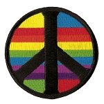 P142 - Rainbow Peace Sign Patch
