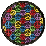 P215 - Small Rainbow Peace Sign Patch