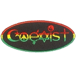 P232 Coexist Symbols Cannabis Ganja Rasta Flag Embroidered Oval Patch