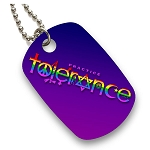 DT003 - Practice Tolerance Rainbow Symbols Full Color Dog Tag with Chain