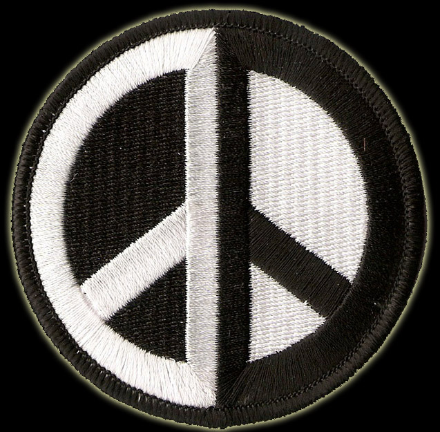 P141 - Black and White Symetrical Peace Sign Patch