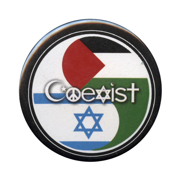 B019 - Coexist Israel Palestine Flag Yin Yang Button Pin