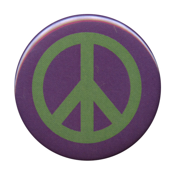 B085 - Green on purple peace symbol button