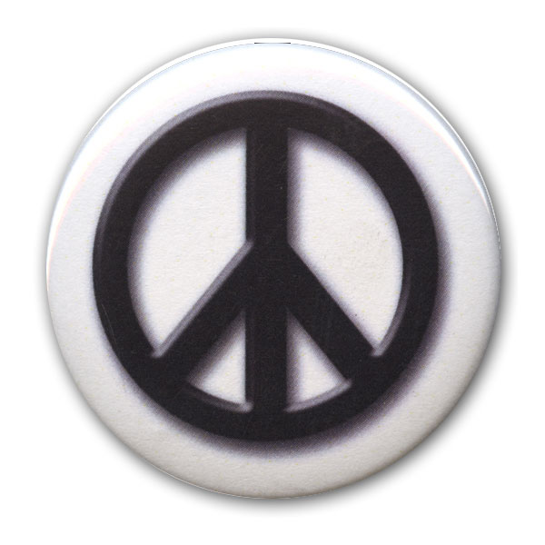 B093 - Black on White Peace Symbol Button