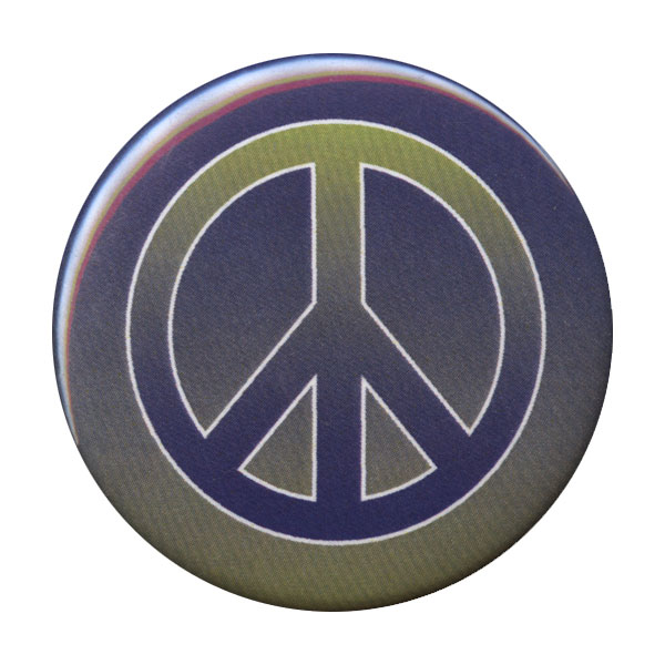 B097 - Blue and Green Gradient Peace Symbol Button