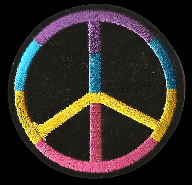 P155 - Purple Blue Yellow and Pink Peace Sign Patch