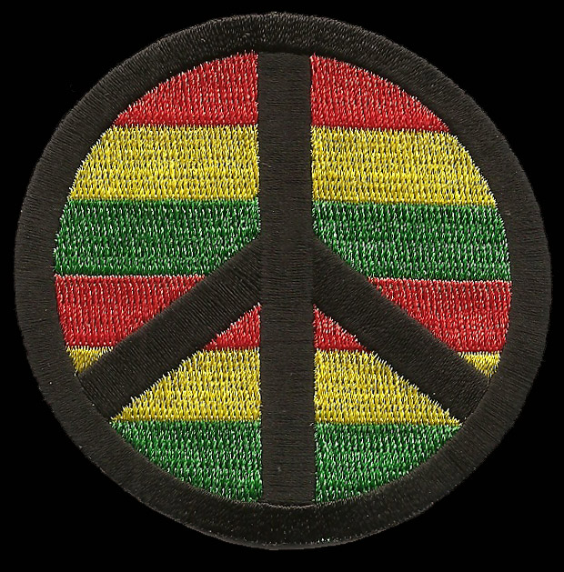 P190 - Rasta Stripes Peace Sign Patch