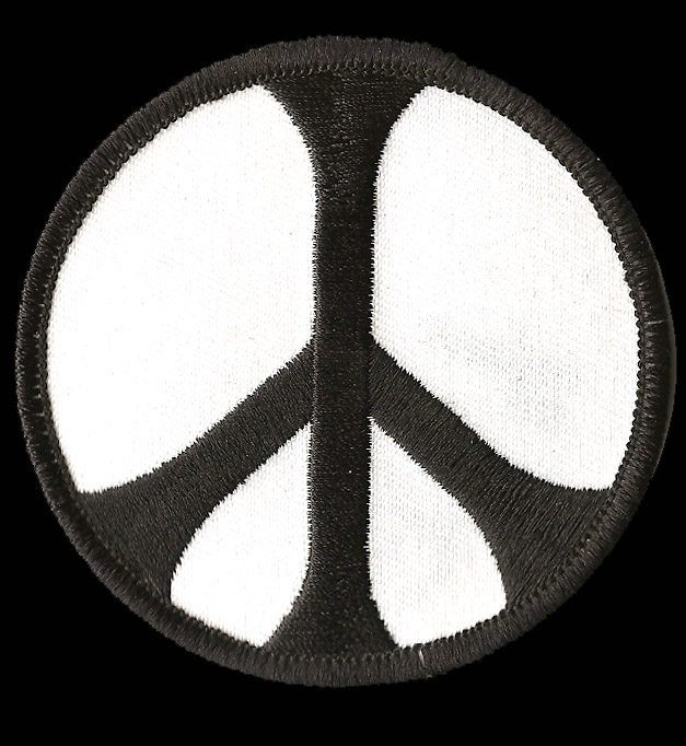 P211 - Black On White Peace Sign Patch