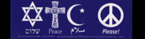 S050 - Interfaith Peace Please! Large Bumper Sticker