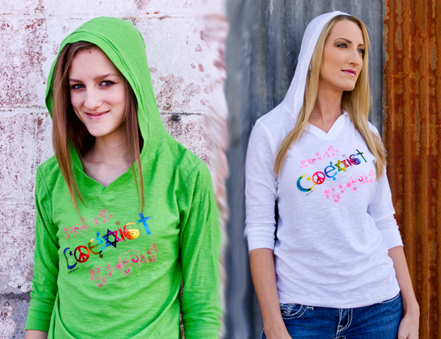 WHS003 - Coexist Rainbow Foil Women's Fitted Long Sleeve Hoodie