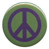 B083 - Purple on Green Peace Symbol Button