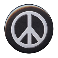B098 - White on black embossed peace symbol button