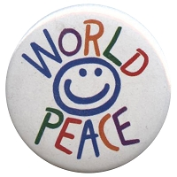 B200 - World Peace Smiley face Button