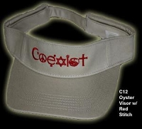 C12 - Coexist Beige Visor w/ Red Stitching