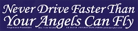 MS164 - Never Drive Faster Then Your Angels Can Fly Mini Sticker
