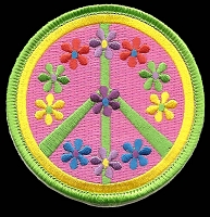 P129 - Peace Symbol With Pastel Flowers Patch