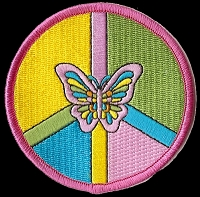 P132 - Butterfly Peace Sign Patch