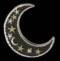 P174 - Black Metallic  Moon Patch