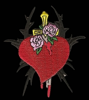 P182 - Heart With Sword And Roses Patch