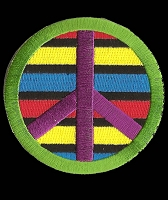 P186 - Striped RYB Peace Sign Patch