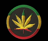 P193 - Rasta Leaf Round Patch