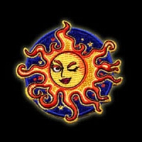 P046 - Winking Sun Embroidered Patch