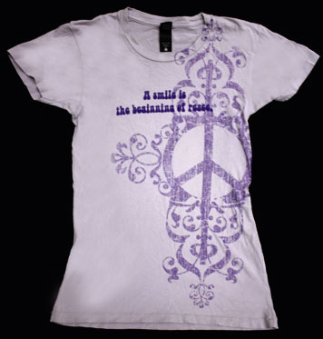 T076 - A Smile is the Beginning of Peace Women's Fitted Shirt