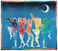 A352  - Batik Rainbow Dancers Art Decal Window Sticker
