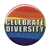 B101 - Celebrate Diversity Rainbow Pin Back Button