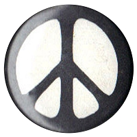 B291 - Black on White Peace Symbol Button