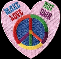 P139 - Make Love Not War Peace Sign Heart Patch