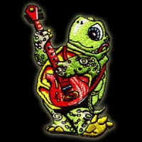 P035 - Grateful Turtle Terrapin Tortoise Playing the Guitar Silk Embroidered Embroidered Patch Dead Band