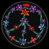 P048 - Peace Flowers Embroidered Patch