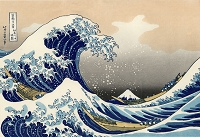 PS087 - Great Wave by Hokusai Color Poster Japan Pacific Ocean With Mount Fuji