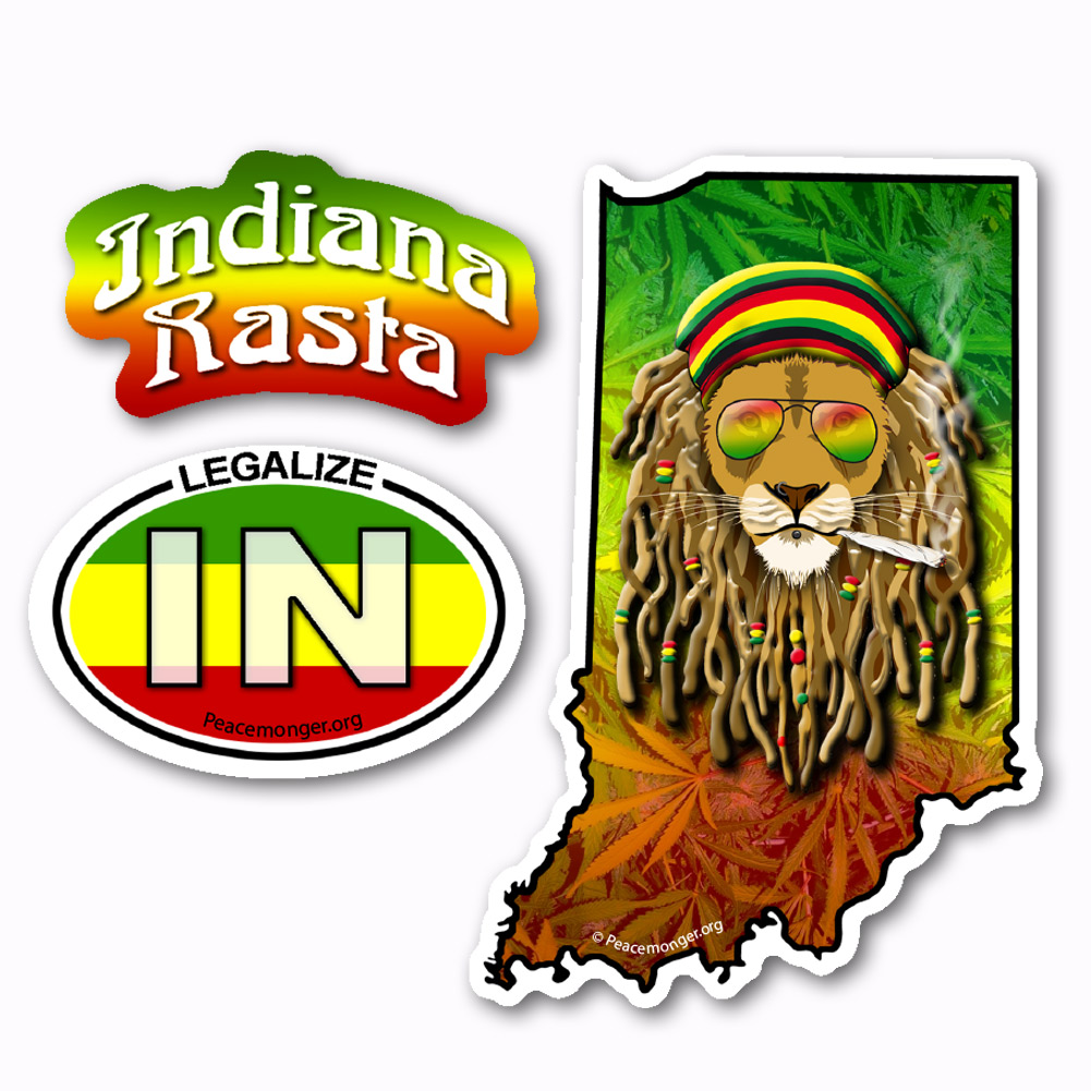 Rg014 indiana state rasta ganja legalize cannabis dread lion 3 sticker set