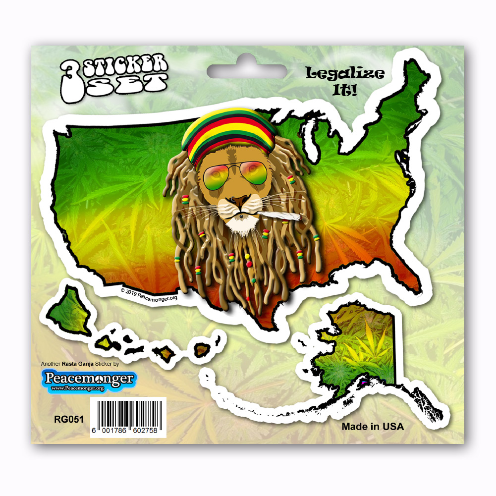 Home shop by item stickers peacemonger original stickers rg051 american rasta ganja legalize cannabis dread lock lion 3 sticker set