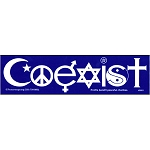 S001 Coexist Interfaith Symbols Peacemonger Original Peace Decal Bumper Sticker