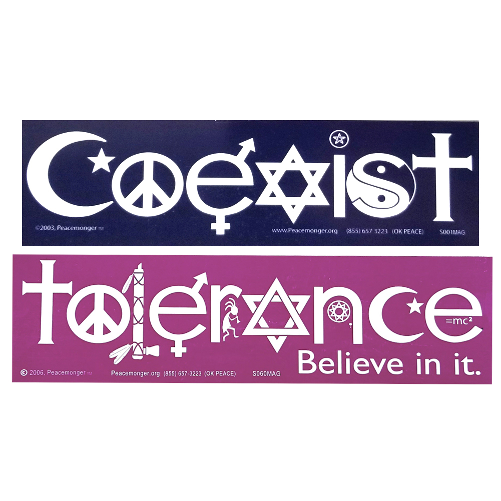 S001 s060mag coexist and tolerance interfaith symbol glyph magnet 2 pack