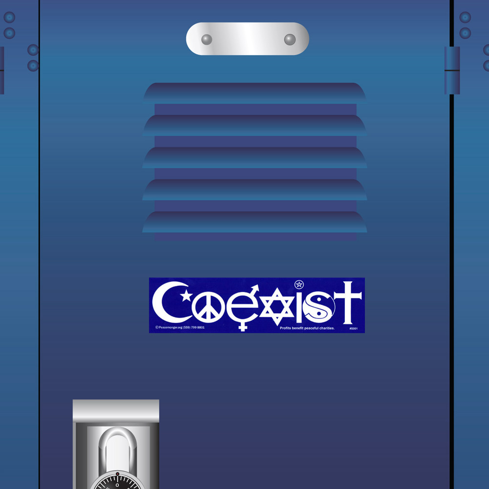 S001 Mag Coexist Interfaith Word Symbols Magnetic Bumper Sticker Magnet