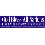 S007 - God Bless All Nations Sticker Large Bumper Sticker