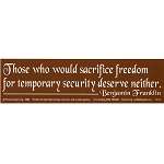 S015 - Freedom for Security Large Bumper Sticker