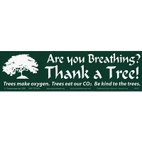 S040 Are you breathing Thank a Tree Conserve Nature Environmental Bumper Sticker