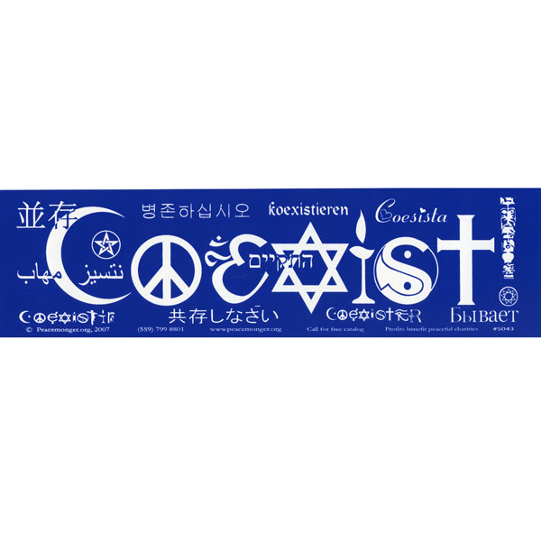 Coexist languages large bumper sticker