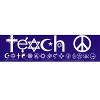 S055 - Teach Peace SymbolGlyphs Bumper Sticker