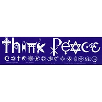 S056 - Think Peace SymbolGlyphs Bumper Sticker